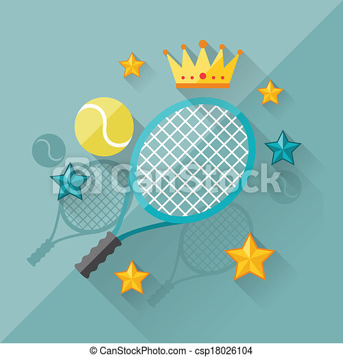 Illustration concept of tennis in flat design style. - csp18026104