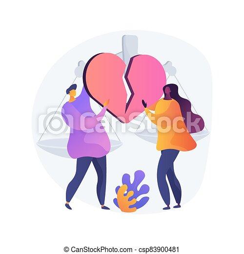 illustration., concepto, divorcio, resumen, vector - csp83900481