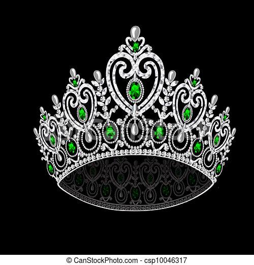 illustration corona diadem feminine wedding with emerald on black background - csp10046317