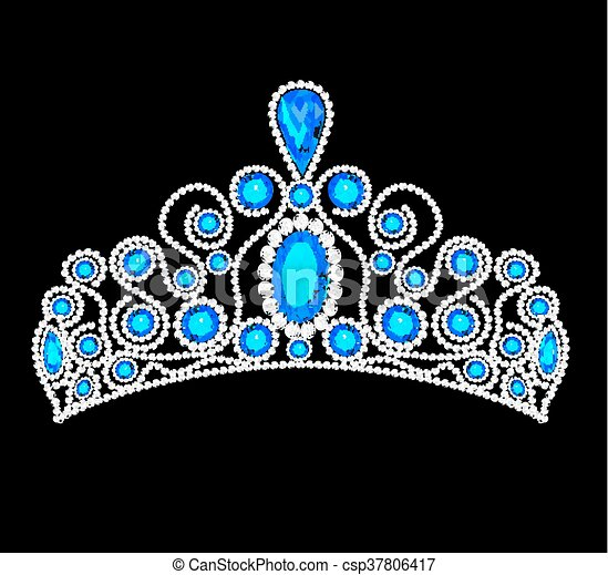 illustration crown tiara women with glittering precious stones - csp37806417