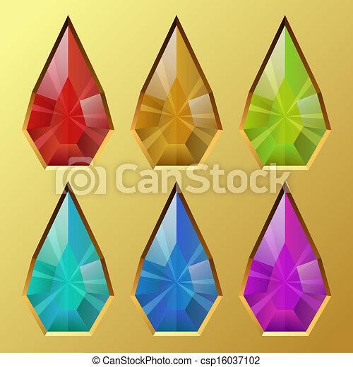 illustration., dado forma, cor, gota, água, vetorial, pedra preciosa - csp16037102