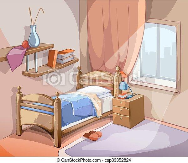 Illustration, dessin animé, vecteur, chambre à coucher, intérieur ...