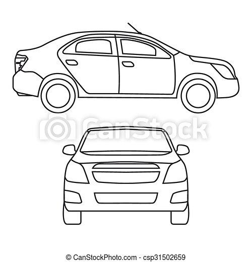 Illustration dessin vecteur voiture devant vue c t dessin vecteur voiture - Voiture profil dessin ...