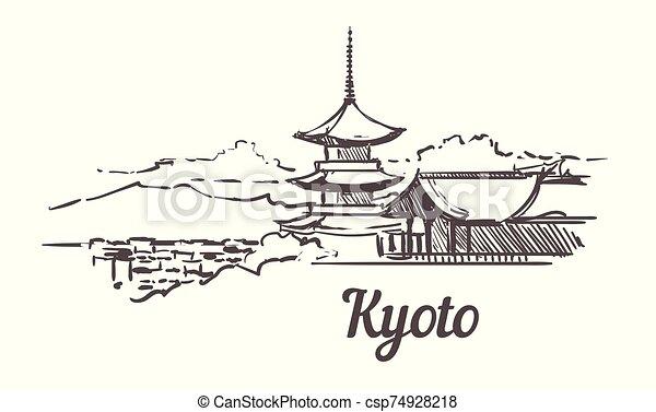 illustration., dibujado, kyoto, sketch., contorno, mano - csp74928218