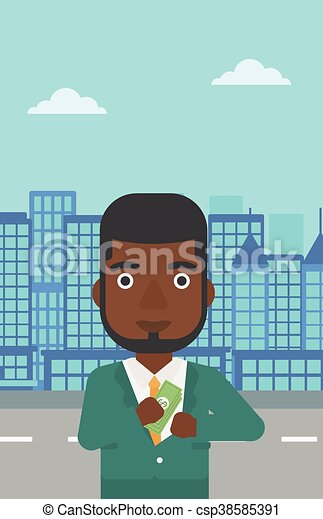illustration., dinheiro, bolso, vetorial, pôr, homem - csp38585391