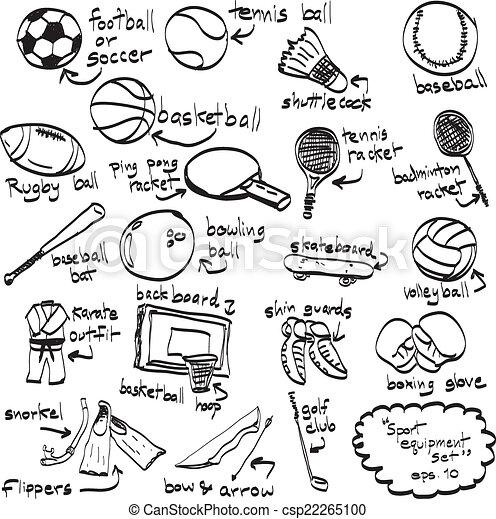 illustration., doodle, isolado, objeto, equipment., ilustração, mão, realístico, sketchy, vetorial, desporto, imagem, desenhado - csp22265100
