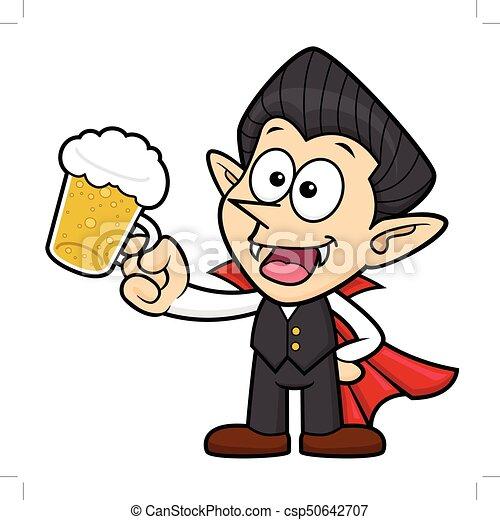 Dag Halloween.Illustration Dracula Drank Karakter Vampier Vrijstaand Vector Beer Halloween Dag