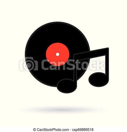 illustration, enregistrement, vecteur, musique, vinyle, icon- - csp69889518