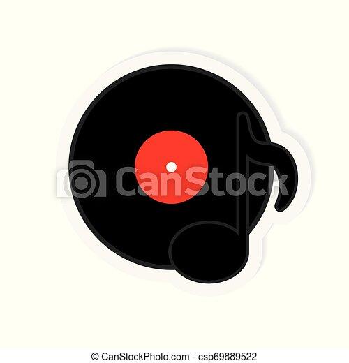 illustration, enregistrement, vecteur, musique, vinyle, icon- - csp69889522