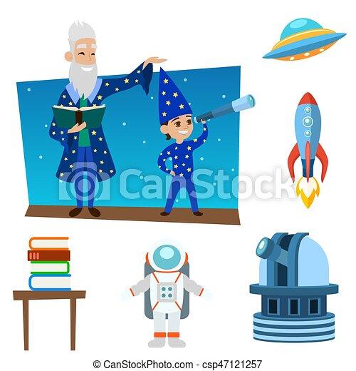 Illustration Espace Univers Icones Signe Planete Clipart