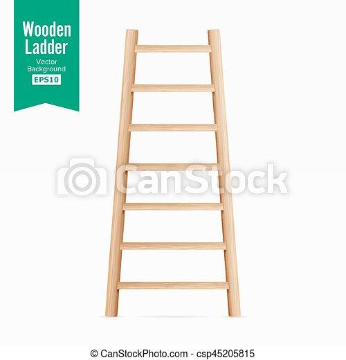 illustration., experiência., escada madeira, isolado, realístico, vector., branca - csp45205815