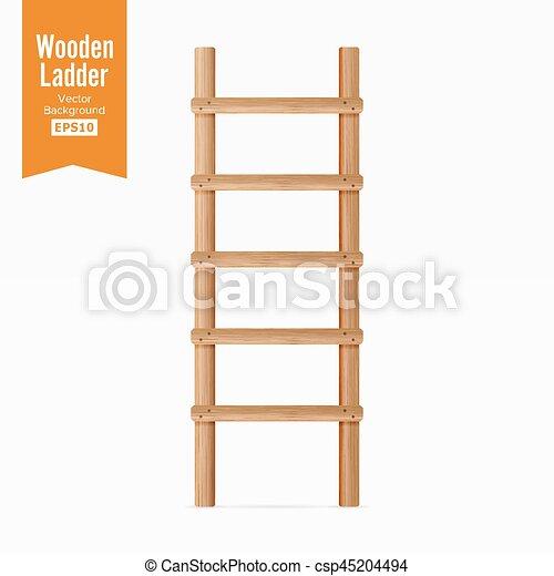 illustration., experiência., escada madeira, isolado, realístico, vector., branca - csp45204494