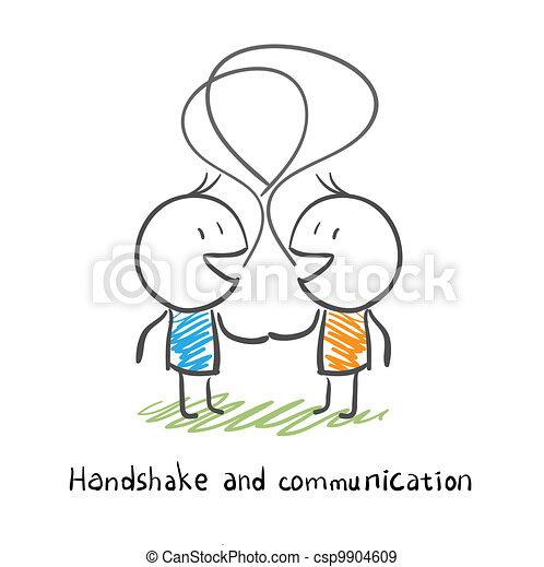 illustration., férfiak, két, socialize., kézrázás - csp9904609