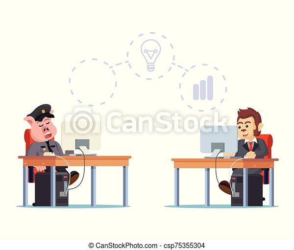 illustration, fonctionnement, sommeil, cochons, quoique, vecteur, police - csp75355304