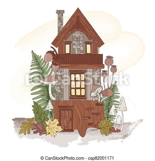 illustration, forêt, nain, automne, ensemble, nature, vecteur, maison - csp82001171