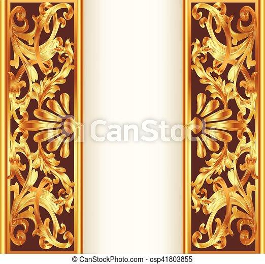 Illustration frame background with gold vegetable pattern.