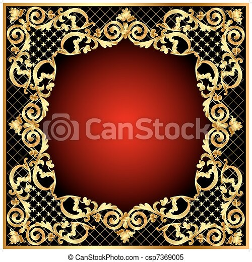 illustration frame  with gold  pattern - csp7369005