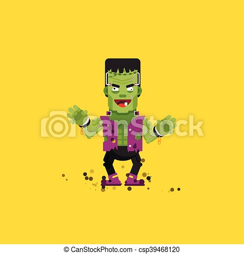 illustration Frankensteins monster character for halloween in a flat style - csp39468120