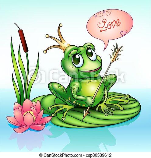 illustration frog princess on a leaf - csp30539612