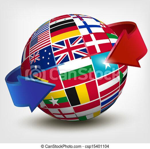 illustration., globo, arrow., vector, banderas, mundo - csp15401104