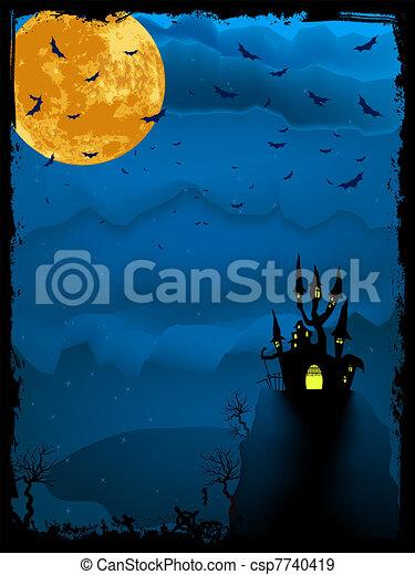 illustration., hemsökt av spöken, halloween, eps, tid, 8 - csp7740419