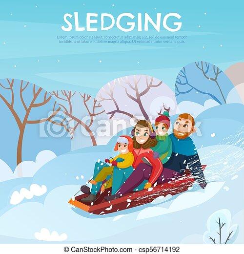 illustration, hiver, récréation - csp56714192