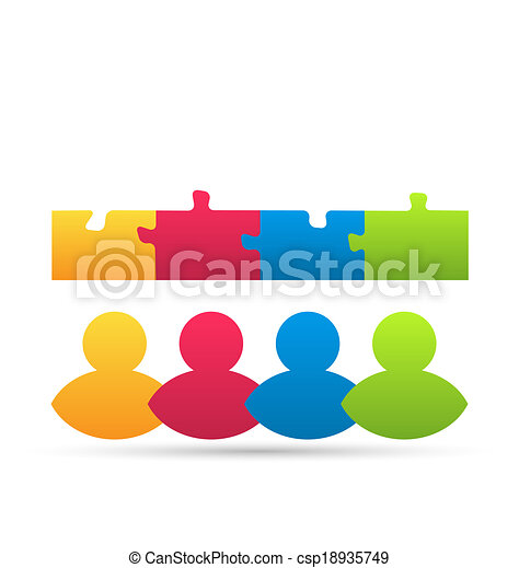Illustration icon team of business people with jigsaw puzzle pieces as a solution to a problem - vector - csp18935749