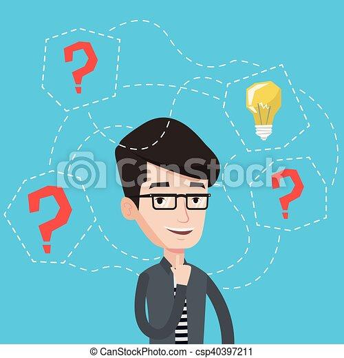 illustration., idea affari, vettore, detenere, uomo - csp40397211