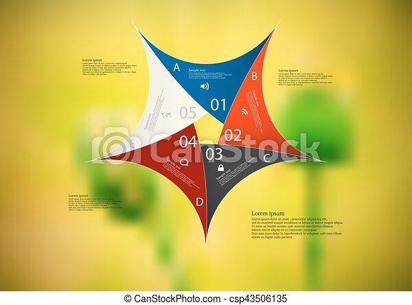 Illustration infographic template with color star pentagon from five sections - csp43506135