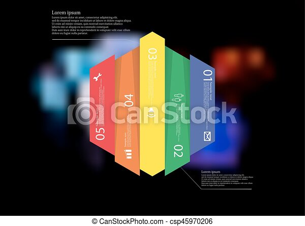Illustration infographic template with hexagon vertically divided to five color parts - csp45970206