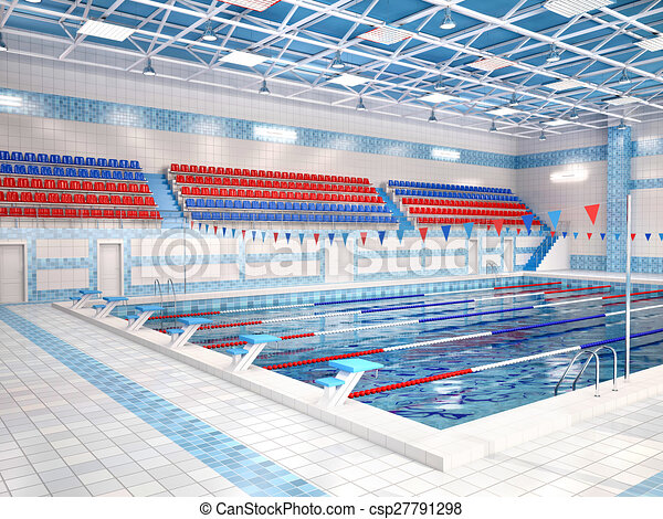 Illustration int rieur 3d public piscine natation for Piscine destock
