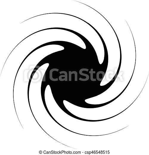 illustration., irradiar, spiral., resumen, líneas, espiral, negro, artístico, radial, blanco, distortion., non-figural - csp46548515