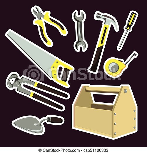 Illustration is a set of cartoon tools - csp51100383