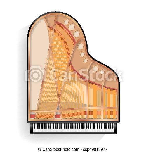illustration., isolado, shadow., realístico, vetorial, pretas, grandioso, keyboard., ícone, piano, aberta - csp49813977