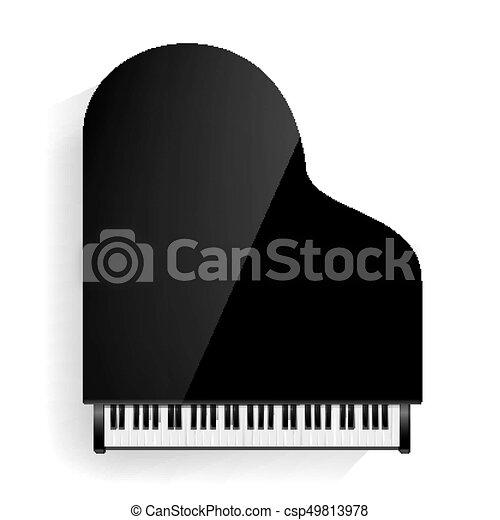 illustration., isolado, shadow., realístico, vetorial, pretas, grandioso, keyboard., piano, ícone - csp49813978