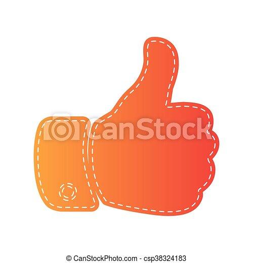 illustration., isolated., ręka, applique, pomarańcza, znak - csp38324183
