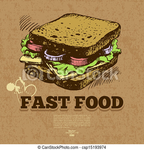 illustration., jadło, rocznik wina, mocny, ręka, tło., projektować, menu, pociągnięty - csp15193974
