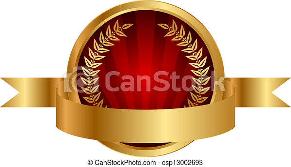 illustration label and gold ribbon - csp13002693