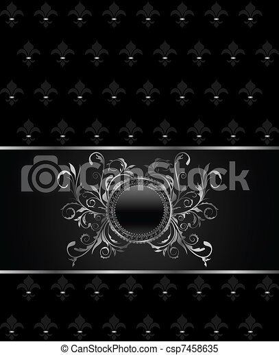 Illustration luxury vintage titanium frame template - csp7458635
