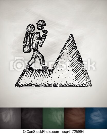 illustration, main, vecteur, dessiné, icon., grimpeur - csp41725994
