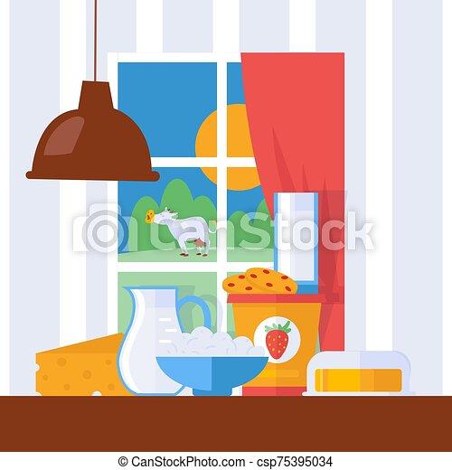 illustration., mantequilla, leche, estilo, tabla, vista, vector, campo, pasto, lechería, ventana, vaca, fresco, productos, farmhouse., cocina, caricatura, queso - csp75395034