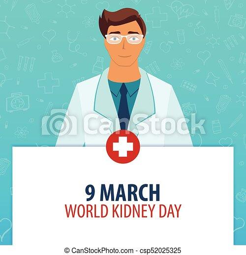 9. März. Weltnieretag. Medizinischer Feiertag. Vector Medizin Illustration. - csp52025325