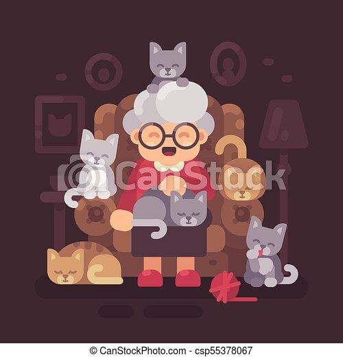 illustration, mignon, vieux, elle, séance, fauteuil, chatons, plat, chat, cinq, cats., grand-maman, dame - csp55378067