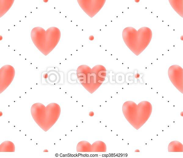 illustration., modello, seamless, valentina, day., vettore, fondo, cuori, bianco rosso - csp38542919