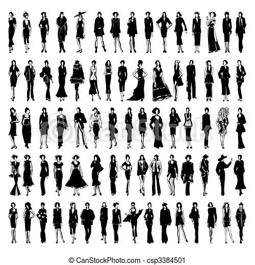 Las modelos en un vestido van por un camino. Una ilustración del vector. - csp3384501