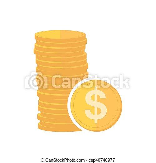 illustration., moedas ouro, sinal, vetorial, dollar. - csp40740977