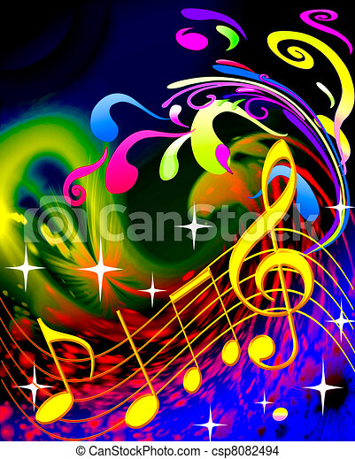 illustration music and waves - csp8082494