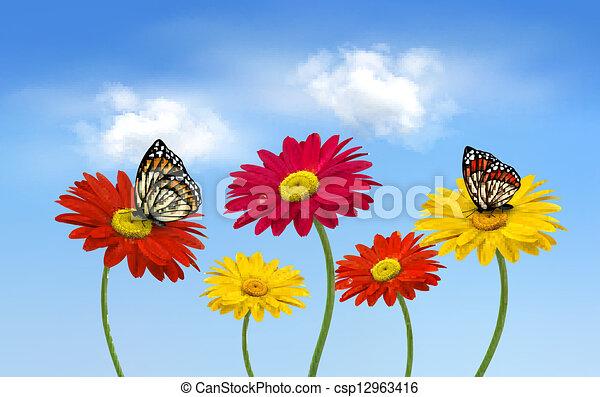 Flores de bacalao natural con ilustraciones de vectores mariposa. - csp12963416