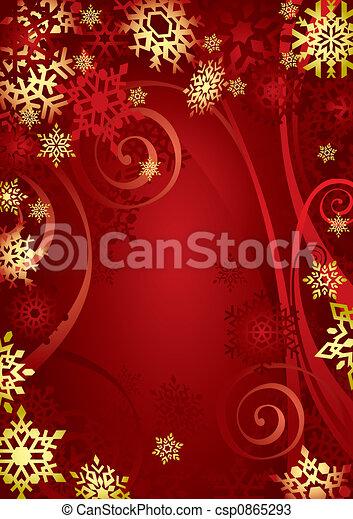 (illustration), navidad, copos de nieve - csp0865293