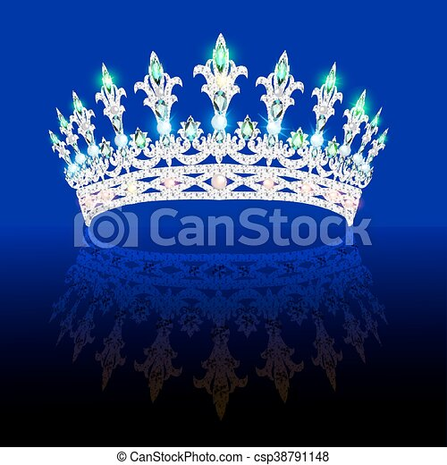 Illustration of a beautiful crown, tiara tiara with gems and pearls. Vector crown element for design - csp38791148